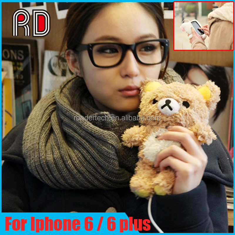 "3D Animal 4.7"" Toy Plush Cover Case for iphone 5, Cool Cute Doll Toy Bear Cover 3D Case for Iphone 6 6plus 5 4"