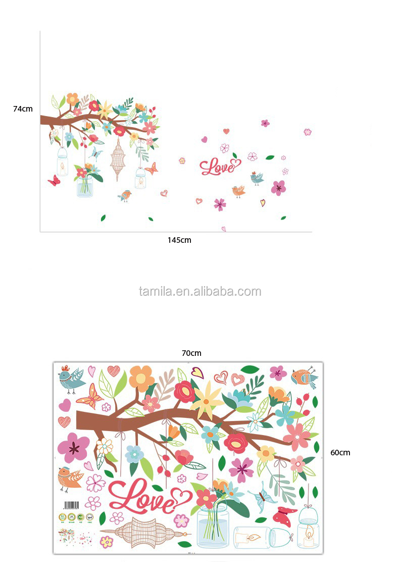 Kids Cartoon Cherry Blossom Tree Wall Sticker For Nursery Large Size Wall Tattoo