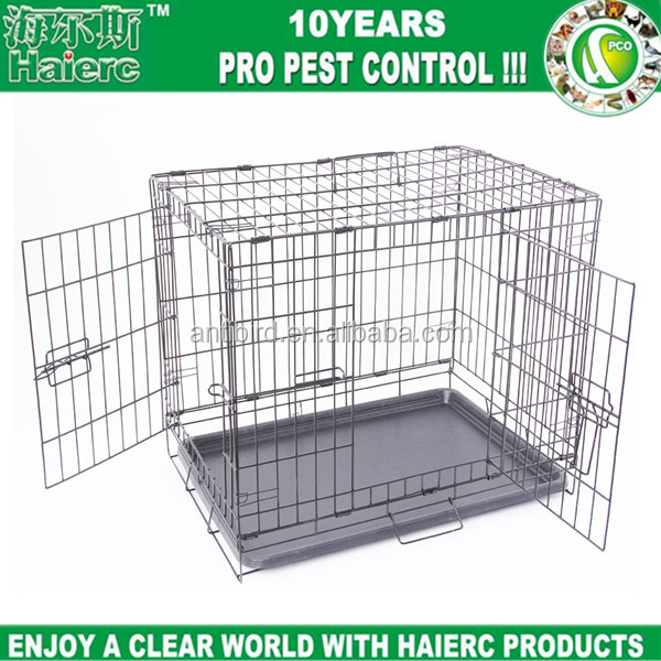 Haierc 2017 Newly Designed Model Dog Crate, Double-Doors Folding Metal house