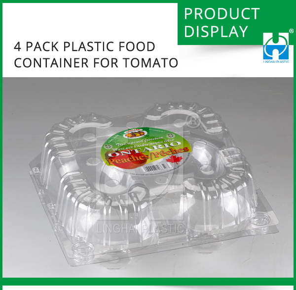 4 Pack Plastic Food Container For Tomato