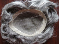 6inch gray slight wavy indian hair lace toupee