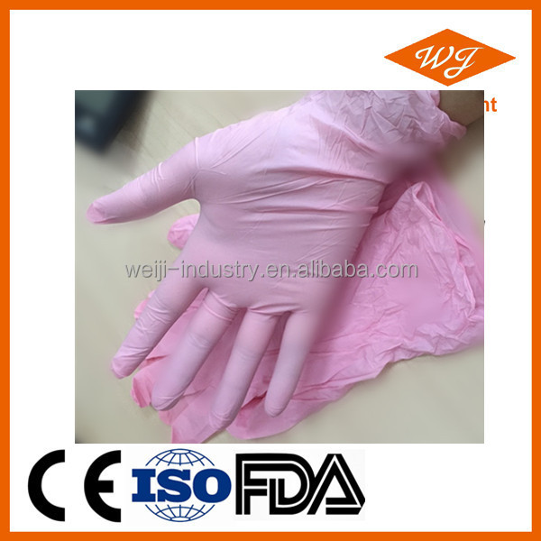 Pink Color Disposable Nitrile Gloves for beauty salon