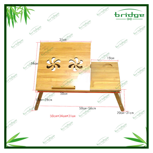 Portable bamboo folding laptop bed table