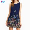 New hotselling party dress printing round collar casual chiffon dress