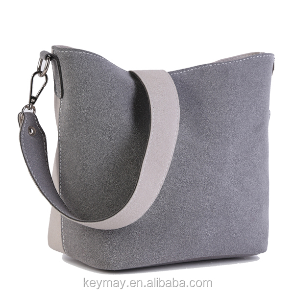 Alibaba China Leather Detachable Wide Strap Grey Discount Designer Handbags