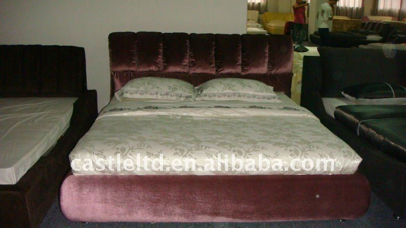 Fashionable and confortable Soft fabric bed,solid wood frame bed,with high density foam