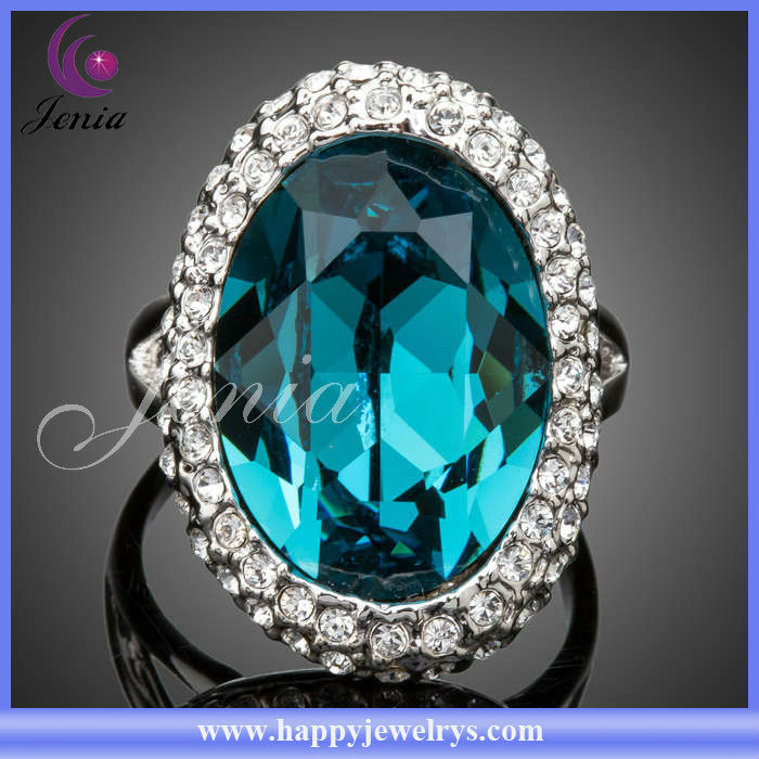 New Trendy Rings Wholesale Cheap Price Top Quality 18k Gold Plated Ring With Austrian Crystal Bule Stone 2013 Wedding Ring(PR029