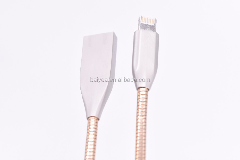 2.5A Fast Charge Usb Cable 2 in 1 Data Transmit Charging Cable Zinc Alloy Design Flexible Metallic Hose High Speed Transmission