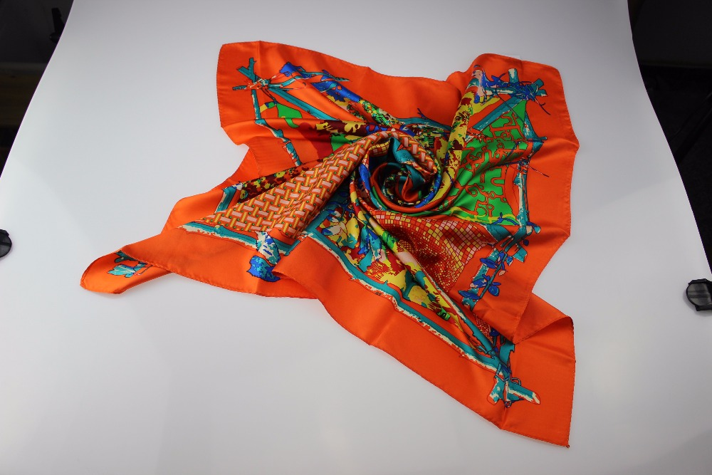 Yearn for nature style print silk scarf active orange color mean growing silk digital print scarf