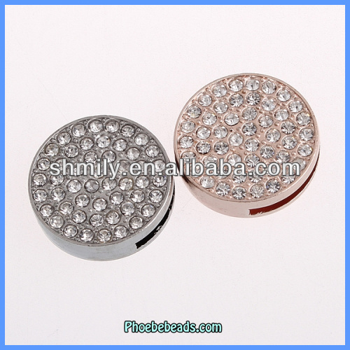 Wholesale Hot Sale Round Shape Rhinestone Slide Clasp For Leather Jewelry Making PMC-T001
