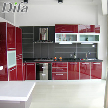 Custom High Gloss Red Kitchen Cabinet,High Gloss Vinyl Wrap Doors Kitchen Cabinets