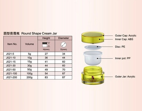 SRS 100g acrylic green cosmetic jar for face cream