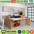 Low price kitchen cabinet showroom model MDF carcase swing door with thicken panel as countertop feet art 45degree linked