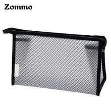 Custom PVC Plastic Zipper Top Cosmetic Bag, Mesh Hanging Toiletry Bag For Travel