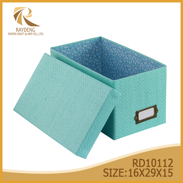 Foldable paper box Woven paperboard storage box with lid blue