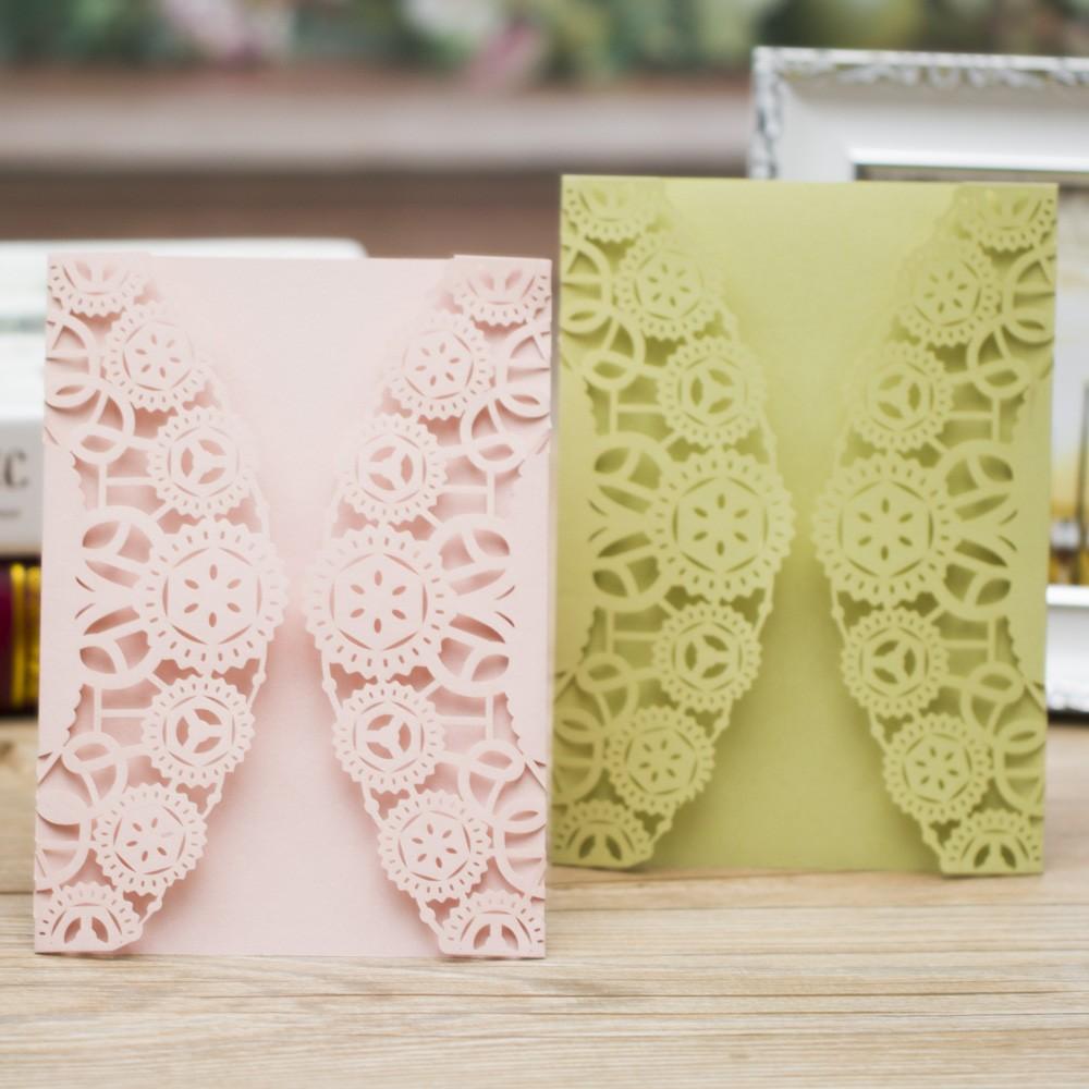 Latest Unique Luxury Doilies Laser Cut Wedding Invitation Cards