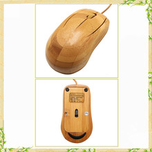 Wooden promotional bamboo mouse without battery