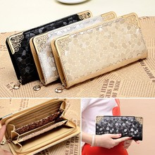 Wholesale Luxury Women Zipper Wallet Leather Long Female Clutch Purse Card Holder wallets
