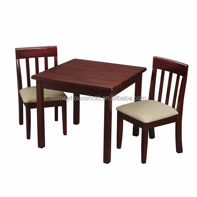 Popular top sell solid wood kid play & study table and chairs small table set