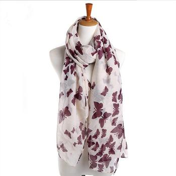 Wholesale Fashionable Womens Butterfly Sheer Scarves Wraps