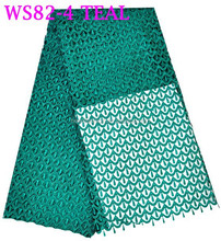 WS82-4 teal lace fabric cord lace in green