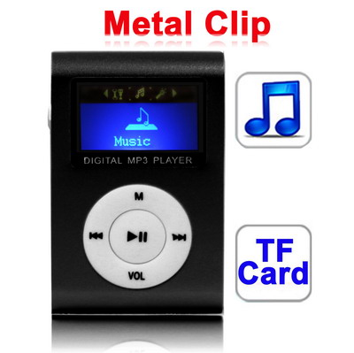 TF Micro Card Slot <strong>MP3</strong> Player with LCD Screen, Metal Clip