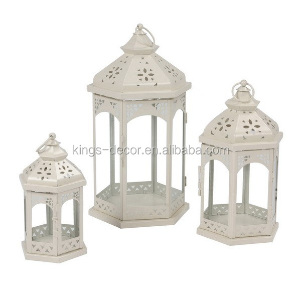 High Quality white classic morrocan wall metal lantern for wedding decoration set of 3
