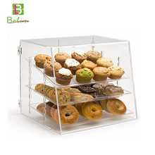 Best quality best-selling low price custom retail store used cardboard 4 tier clear acrylic bakery bread display case airtight