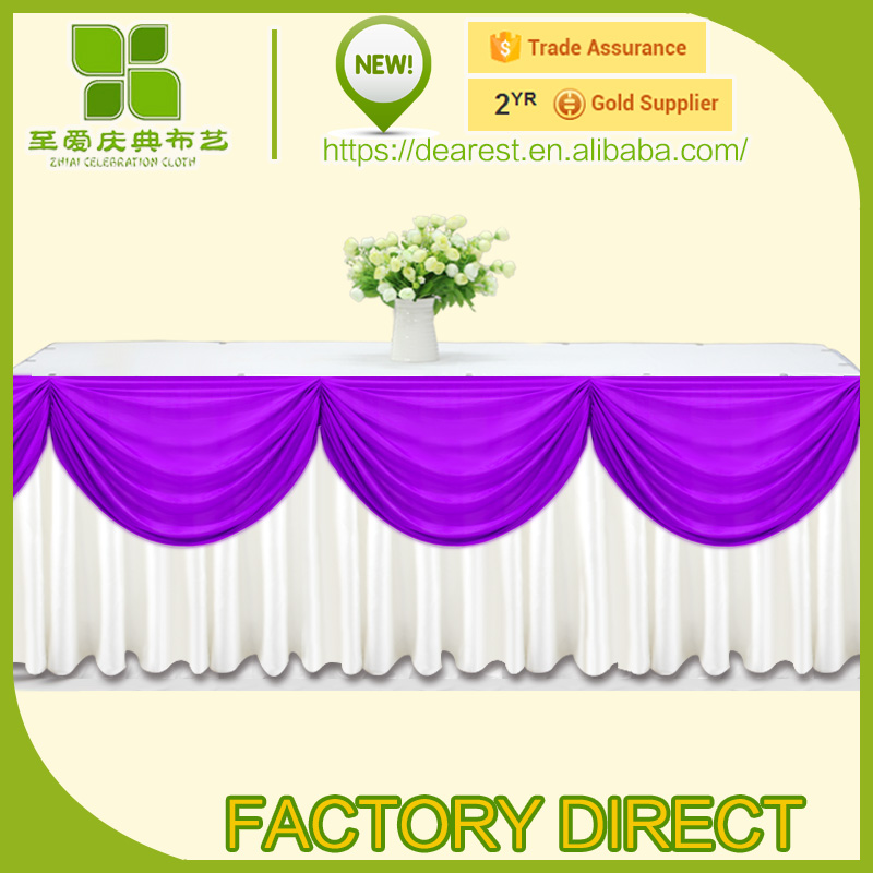 table skirt &wave with ice silk/colorful Wedding with Beatiful Swag drape and table skirt curtain wedding decoration