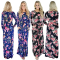 17 Newest European And American Long Autumn Women Floral Print Casual Dress Long Sleeves& Thick Boho Holiday Maxi Dress