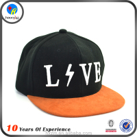 High quality embroidered black snapback hat with suede brim