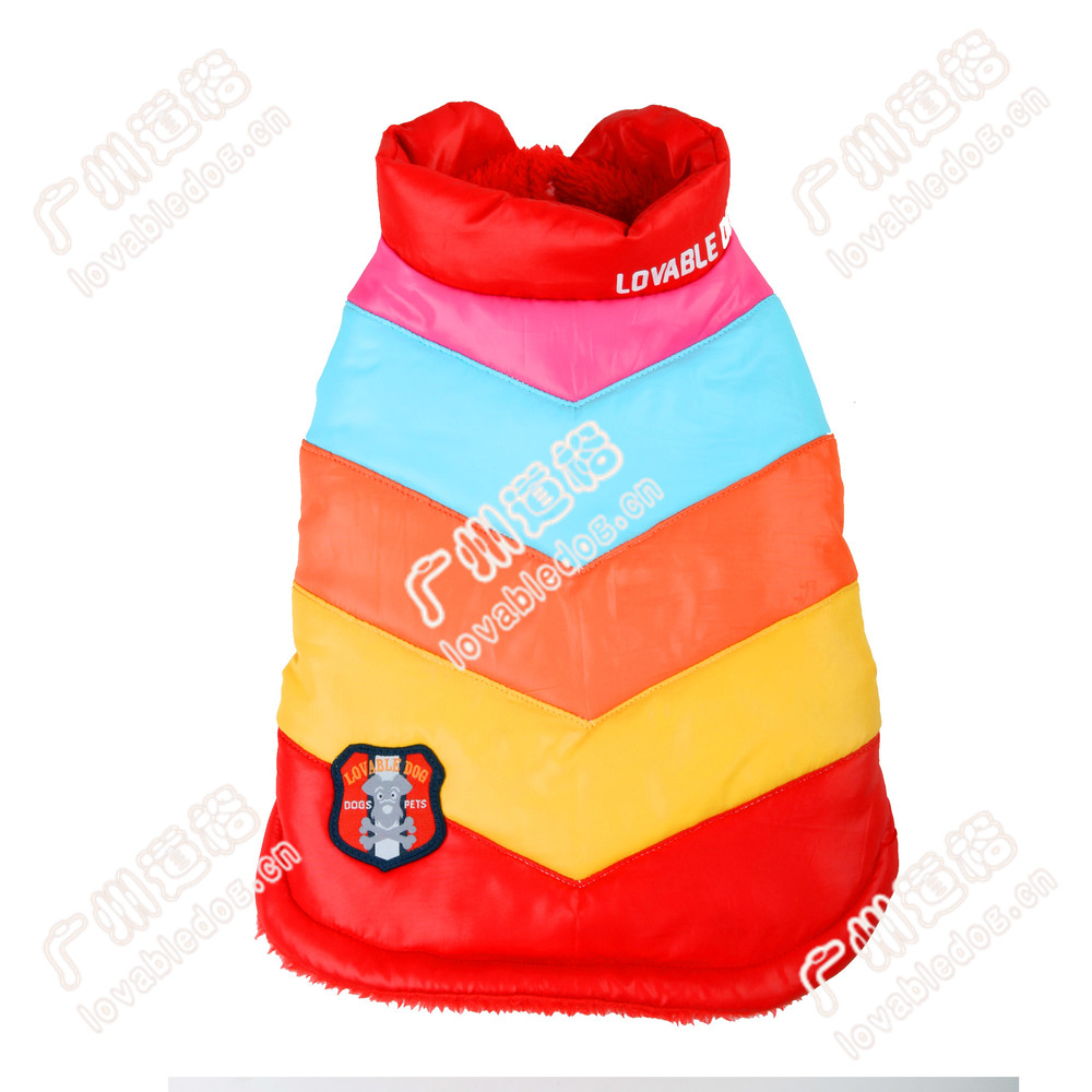 new pet apparel dog products Rainbow quilting coat wholesale dog clothes in China