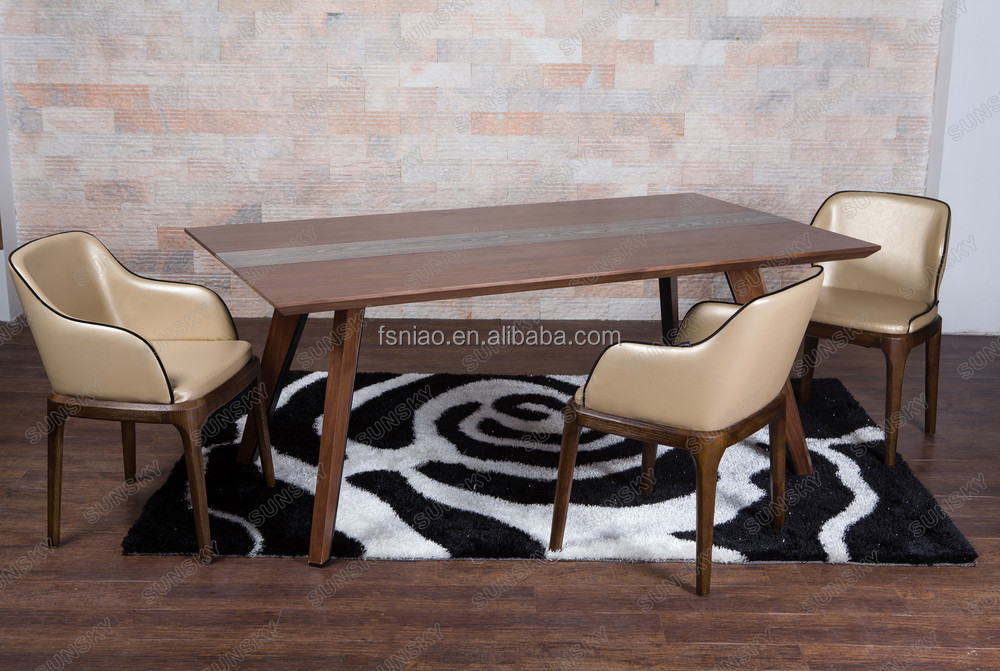 High quality Modern Italian home furniture wooden dining table and chairs SK1509T