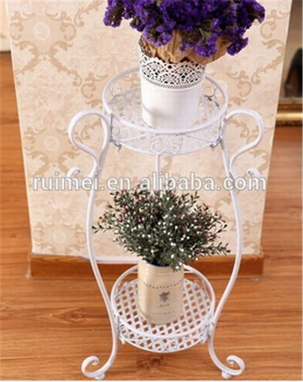 2-tier Customized White Modern Wall Flower Pot Stand