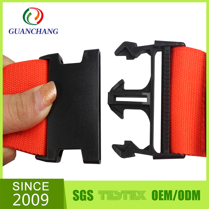 china supplier colorful traveling logo printed novelty luggage belt strap with plastic buckle