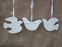 White Porcelain compressed dove hanging Ornament