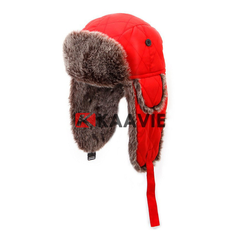 winter warm Russian ski ear flap cap red faux fur trapper hat