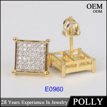 Hot sales screw back and parts 10k gold plating square hip hop stud earrings