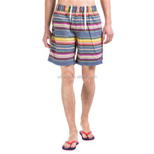 Men Blue Yellow White Stripes Beach Board Walk swim Shorts