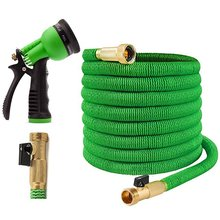 75ft High Quality <strong>Solid</strong> brass connector Expandable Garden Hose with 8 Function Spray <strong>Nozzle</strong>