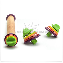 different sizes colorful silicone rubber wood adjustable rolling pin
