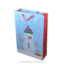 offset printed Christmas gift paper bag with ribbon handle