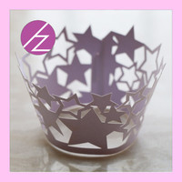Purple Lucky Star Wedding Party Decoration Cupcake Wrapper DG-75