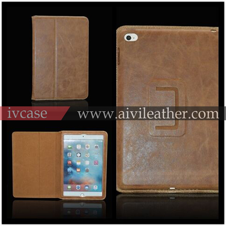 Genuine Natural Leather Handmade Case for ipad mini 4 , Protective Retro Leather Light-weight Folding Flip case for ipad mini 4