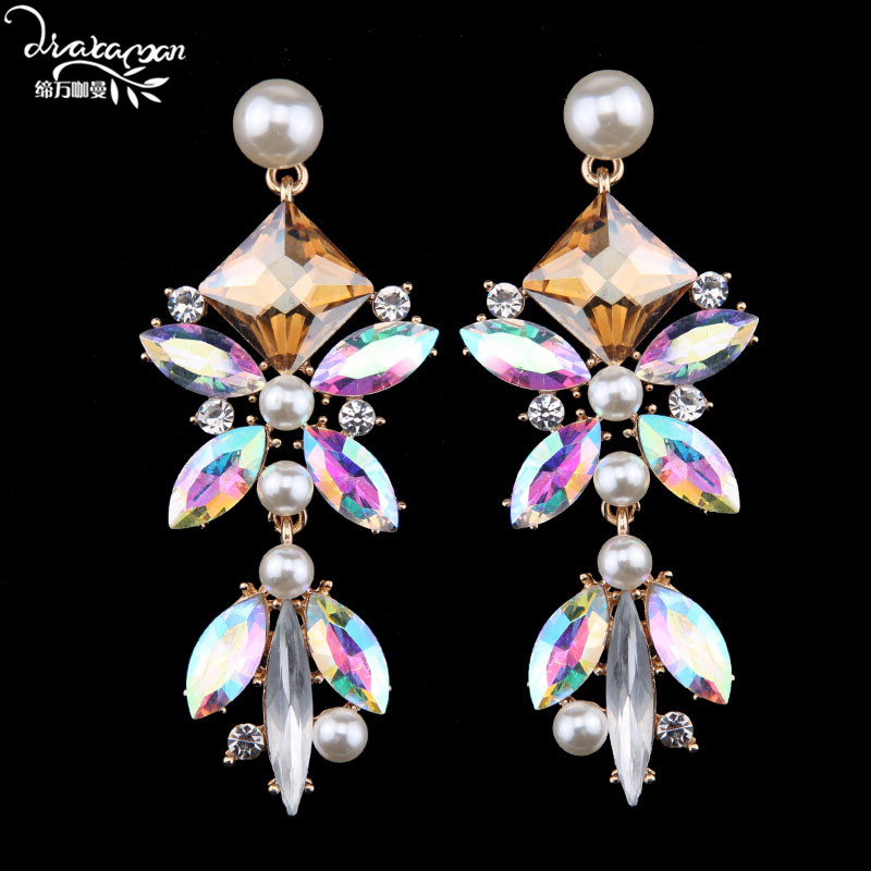 Dvacaman 2017 Classic White Crystal Dangle Earrings Vintage Long Drop Earrings Women Jewelry Wholesale N14
