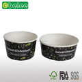 Printed take away paper salad bowl with plastic lid