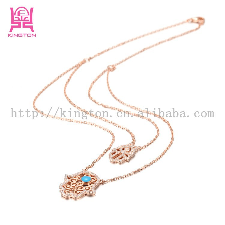 2015 newest hand and eye 925 sterling silver double 18k gold plating necklace