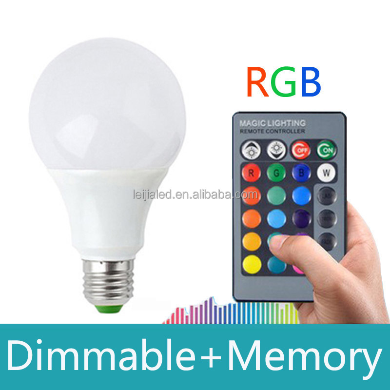 Led supplier 16 color change lamp bulb led , remote control RGB Dimmable e27 led light bulbs 3W 7W 10W AC85-265v