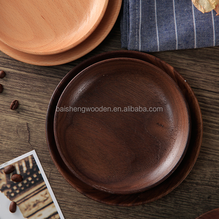 Black walnut wood tray rounded solid wood plate