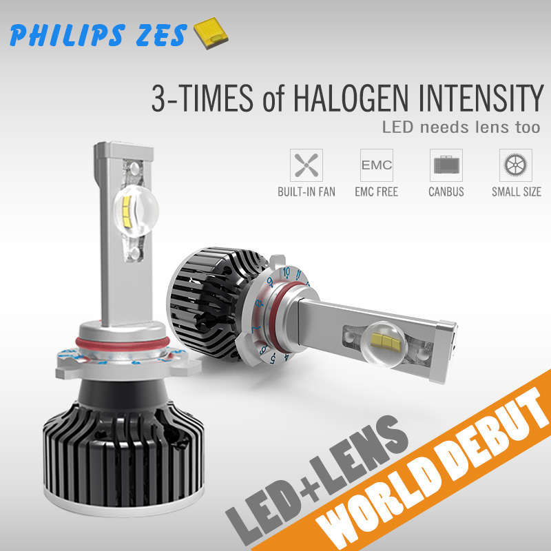 2016 Unique lens surper bright car auto led bulb with H1 H4 H7 H8 H11 9005 9006